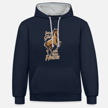 Teenager Horse riding horse rider riding girl gift - Contrast Colour Hoodie