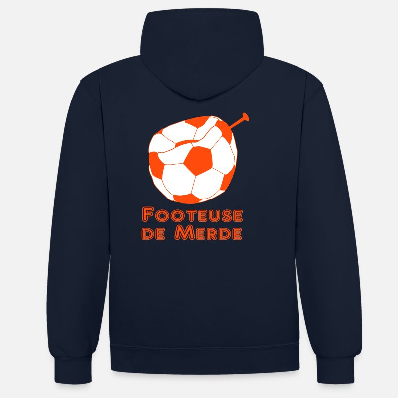 Football Sweat-shirts - footeuse de merde - Sweat à capuche contrasté unisexe bleu marine/gris chiné