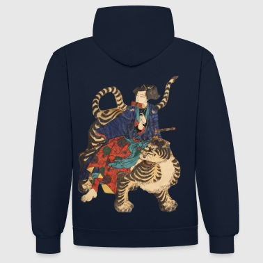 Japanese Art Samurai on Tiger - Contrast Colour Hoodie