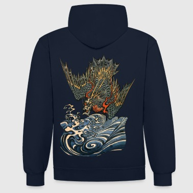 Japanese Art Ocean Dragon - Contrast Colour Hoodie