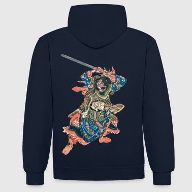 Chinese Warrior - Contrast Colour Hoodie