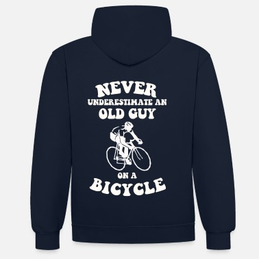 Guy Never underestimate an old guy on a bicycle - Contrast Colour Hoodie