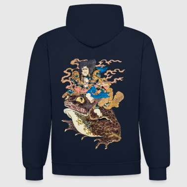 Japanese Art Tokubei doing the Gama Yojutsu - Contrast Colour Hoodie