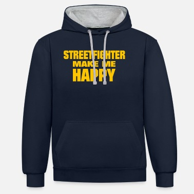 Streetfighter Streetfighter Make Me Happy - Unisex Contrast Hoodie