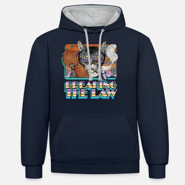 Crime Cat-Breaking the Law - Unisex Contrast Hoodie