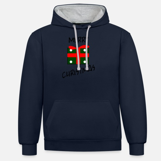 Christmas Hoodies & Sweatshirts - present - Unisex Contrast Hoodie navy/heather grey
