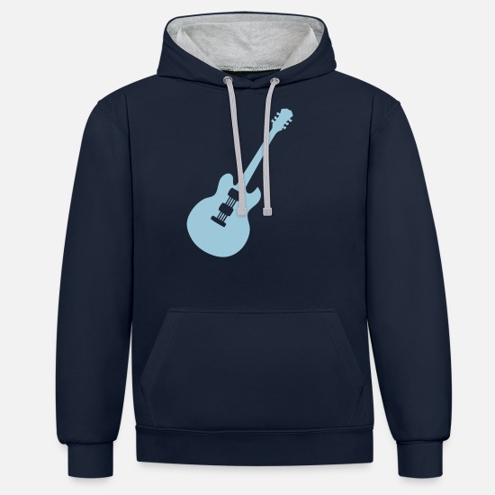 Electric Guitar Hoodies & Sweatshirts - electric guitar - Unisex Contrast Hoodie navy/heather grey
