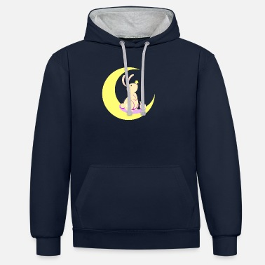 Moon Animals fantasy kawaii - Rabbit of the Moon - Unisex Contrast Hoodie