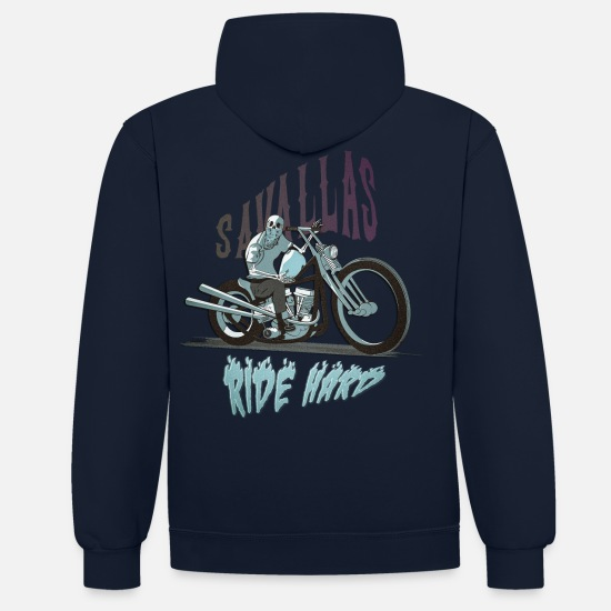 Bikes And Cars Collection V2 Hoodies & Sweatshirts - Ride Hard - Unisex Contrast Hoodie navy/heather grey