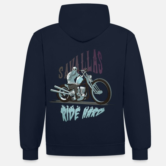 Collection Sweat-shirts - Ride Hard - Sweat à capuche contrasté unisexe bleu marine/gris chiné