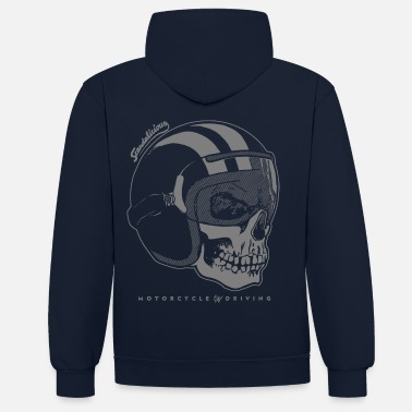 Collection helmet skull neg. - Unisex Hoodie zweifarbig
