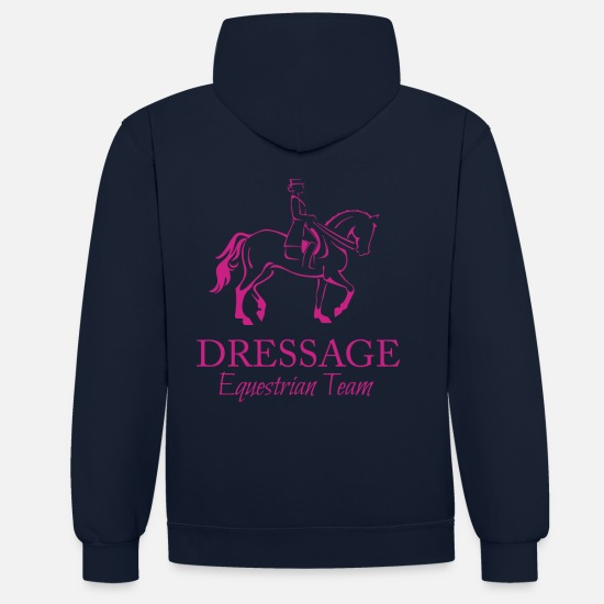 Wife Hoodies & Sweatshirts - Dressage horse and rider illustration - Unisex Contrast Hoodie navy/heather grey