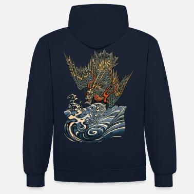 Japanese Ocean Dragon - Unisex Contrast Hoodie