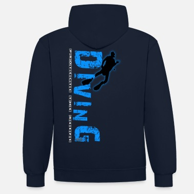 Diving Diving - protects the reefs - Unisex Hoodie zweifarbig