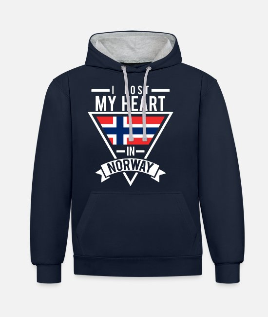 Mountains Hoodies & Sweatshirts - Norway Tourist - Unisex Contrast Hoodie navy/heather grey