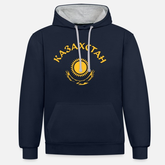 Russian Hoodies & Sweatshirts - Kazakhstan logo - Unisex Contrast Hoodie navy/heather grey