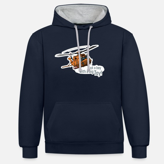 Pilot Hoodies & Sweatshirts - Transport helicopters, helicopters for pilots, boys - Unisex Contrast Hoodie navy/heather grey