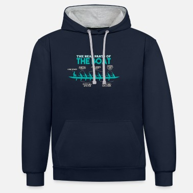 Rowing Anatomy of a Rowing Boat - Rowing Oarsman Oars - Unisex Contrast Hoodie