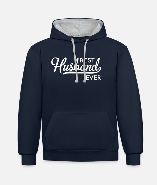 Wedding Day Hoodies & Sweatshirts - husband - Unisex Contrast Hoodie navy/heather grey