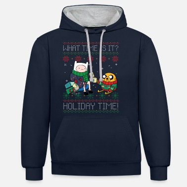 Adventure Time What Time Is It? Holiday Time! - Unisex Contrast Hoodie