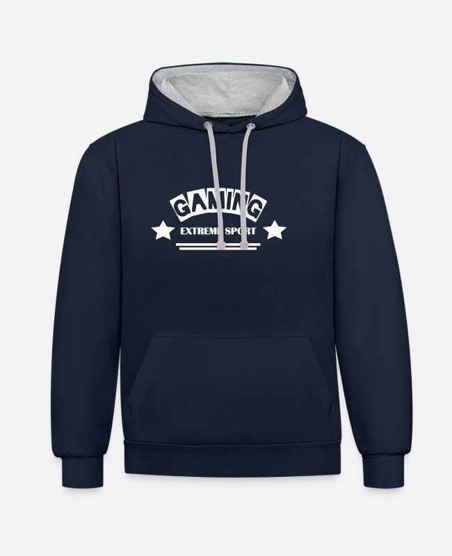 New Hoodies & Sweatshirts - Gaming - Extreme Sports - Leibl Designs - Unisex Contrast Hoodie navy/heather grey