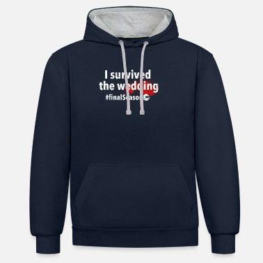 Königreich I survived the wedding | White - Unisex Hoodie zweifarbig