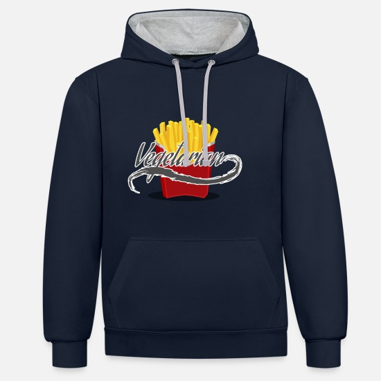 Veggie Hoodies & Sweatshirts - fries - Unisex Contrast Hoodie navy/heather grey