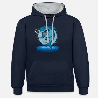 Stage Shark Singing On Stage With Microphone for Shark - Unisex Contrast Hoodie