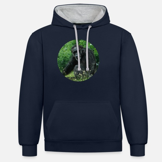 Monkeys Hoodies & Sweatshirts - Monkey monkeys pose - Unisex Contrast Hoodie navy/heather grey