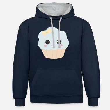 Beady Eyes Cute muffin with ribbon button eyes gift - Unisex Contrast Hoodie