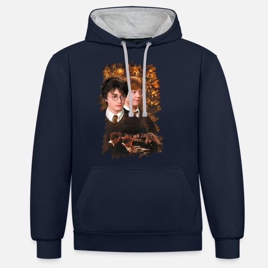 Christmas Tröjor & hoodies - Harry Potter Ugly Christmas Harry & Ron - Kontrast hoodie unisex marinblå/gråmelerad