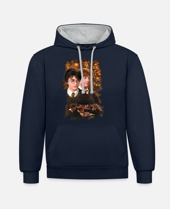 Christmas Pullover & Hoodies - Harry Potter Ugly Christmas Harry & Ron - Unisex Hoodie zweifarbig Navy/Grau meliert