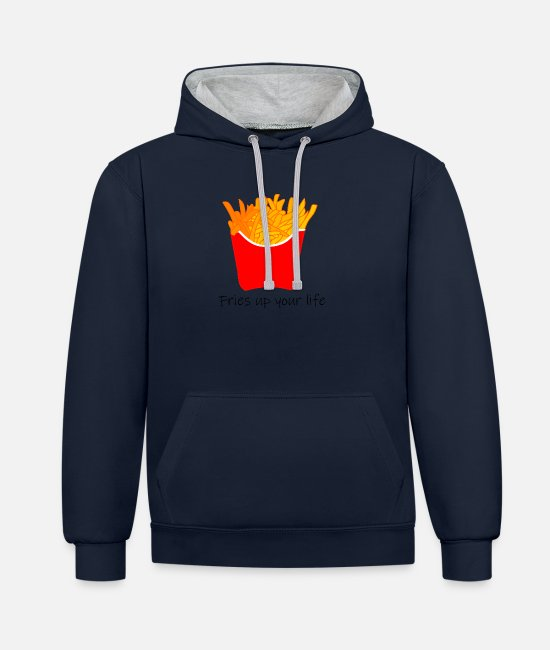 Quota Hoodies & Sweatshirts - Fries up your life - Unisex Contrast Hoodie navy/heather grey
