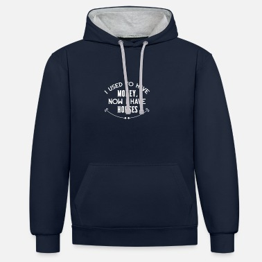 Horse I used to have money white - Unisex Contrast Hoodie