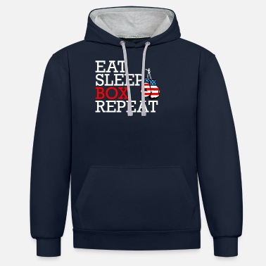 Boxing Eat Sleep Box Repeat with boxing gloves - Unisex Contrast Hoodie