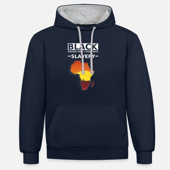 Development Hoodies & Sweatshirts - The black story did not start with slavery - Unisex Contrast Hoodie navy/heather grey