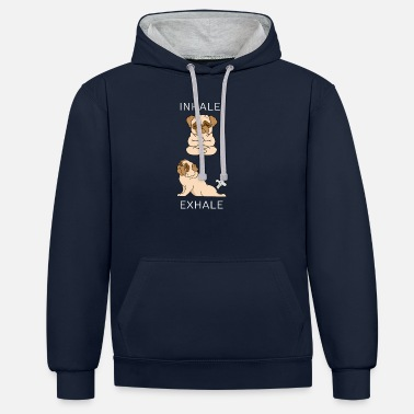 French Bulldog INHALE EXHALE Yoga - Unisex Contrast Hoodie