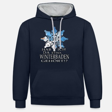 Ice Crystal ice bathing ice bear winterbader motivation snow ice - Unisex Contrast Hoodie