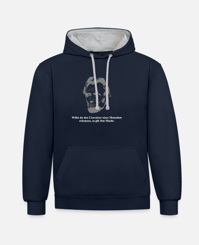 Usa Hoodies & Sweatshirts - Lincoln 1 white - Unisex Contrast Hoodie navy/heather grey