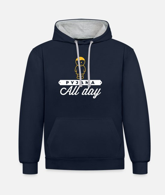 Bed Hoodies & Sweatshirts - Throughout The Day In Your Pajamas! - Unisex Contrast Hoodie navy/heather grey