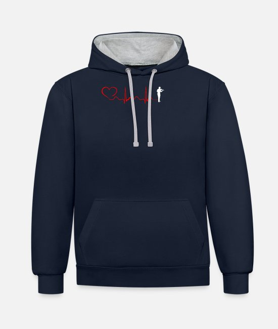 Chain Hoodies & Sweatshirts - Violin Heartbeat And Heart - Unisex Contrast Hoodie navy/heather grey