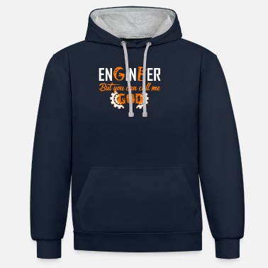 God Engineer ... you can call me God motive - Unisex Contrast Hoodie