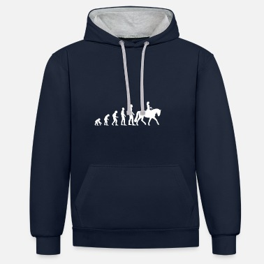 Horse Riding Sport Show Jumping Dressage Evolution - Unisex Contrast Hoodie