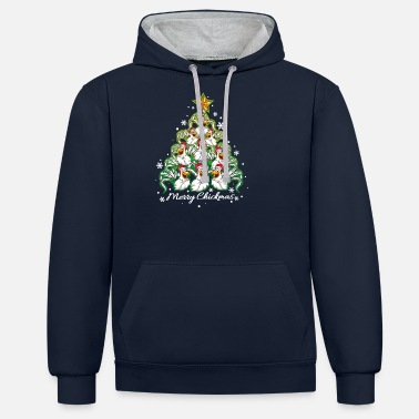 Chickmas Merry Christmas chicken rooster hen - Unisex Contrast Hoodie