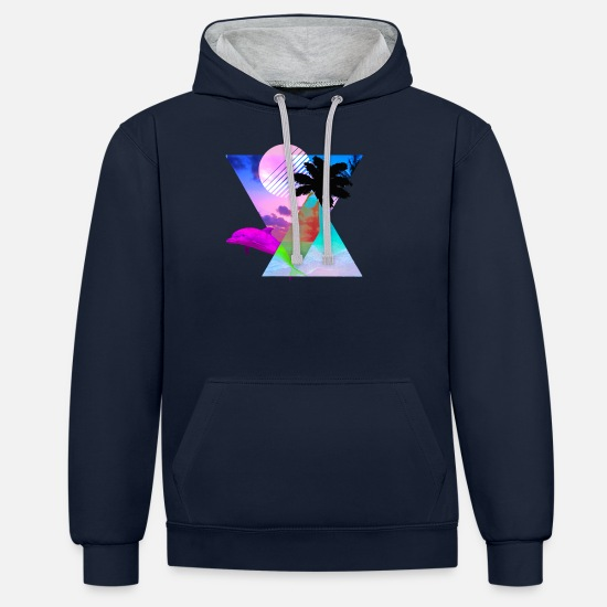 Vaporwave Hoodies & Sweatshirts - Vaporwave Dolphin 80's hypnotic Sunset scene - Unisex Contrast Hoodie navy/heather grey