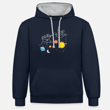 Cosmology Astronomer star astereologist star image gift - Unisex Contrast Hoodie