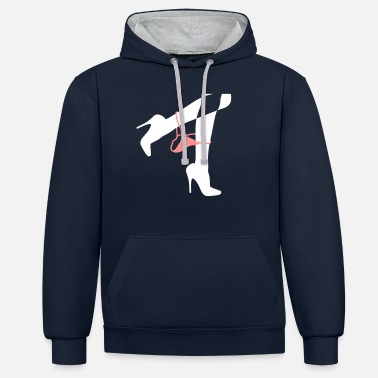 Thong Pretty Woman's Legs With A Thong - Unisex Contrast Hoodie