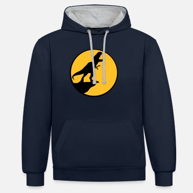 Dinosaurs moon night cliff howling wolf silhouette black out - Unisex Contrast Hoodie