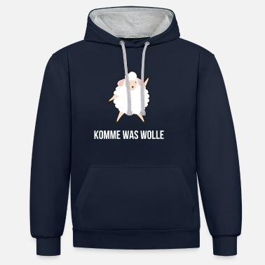 Wolle Komme Was Wolle Stricken Stricker Schaf Tier - Unisex Hoodie zweifarbig