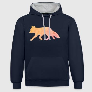 Fox silhouette cadeau aquarelle - Sweat-shirt contraste